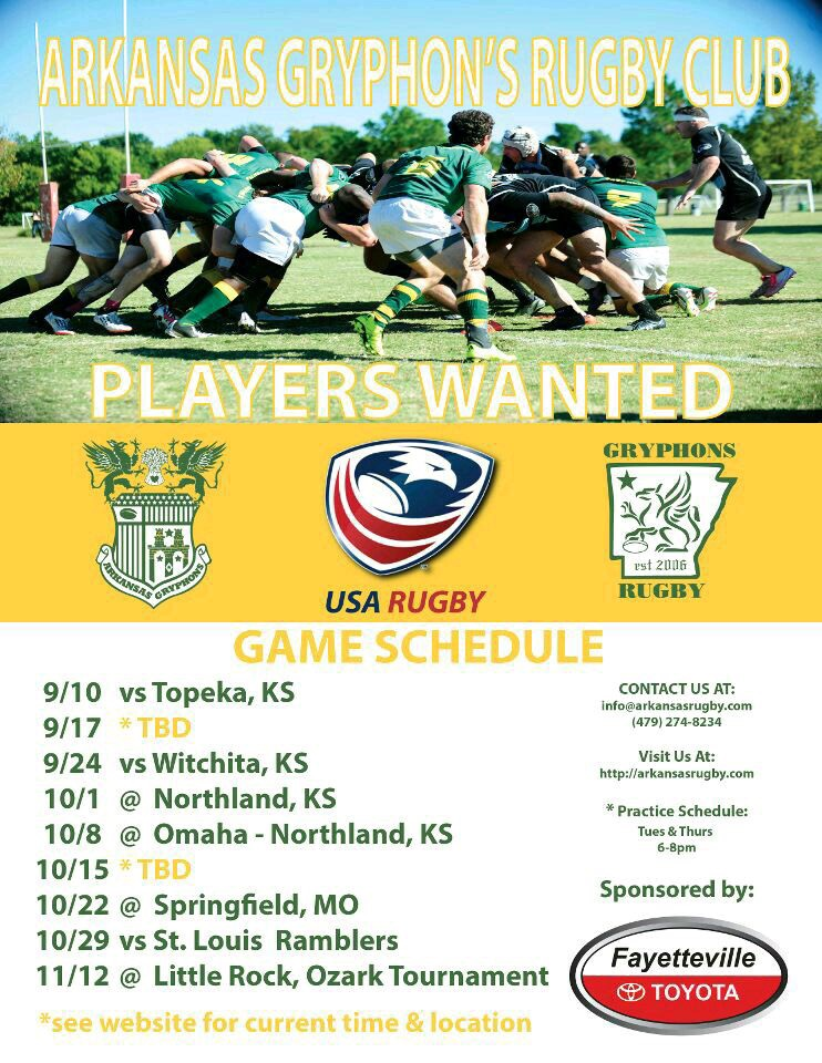 arkansas rugby players wanted arkansas rugby